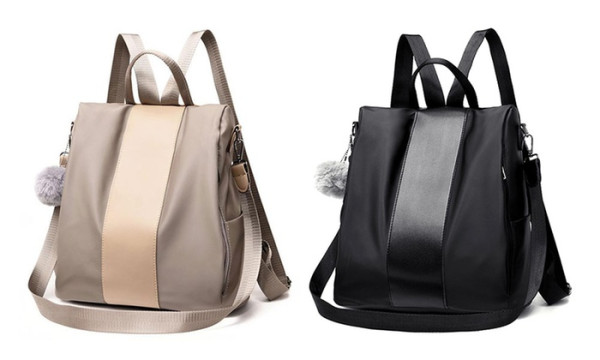 Ladies backpack with anti-theft device and pompon in Black or Khaki