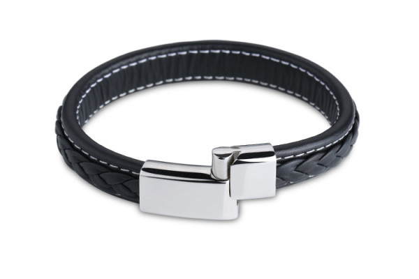 Genuine Leather Bracelet Men Stainless Steel Leather Braid Bracelet