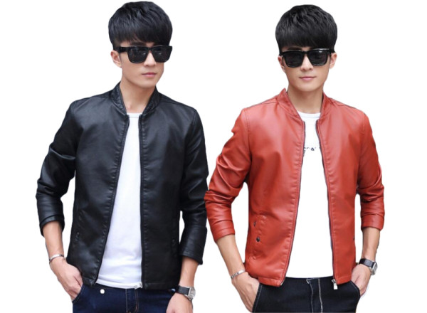 PU leather men's jacket