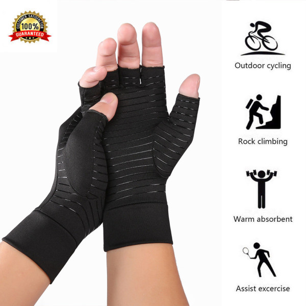 Female male copper arthritis gloves compression carpal tunnel trig finger joint pain relief