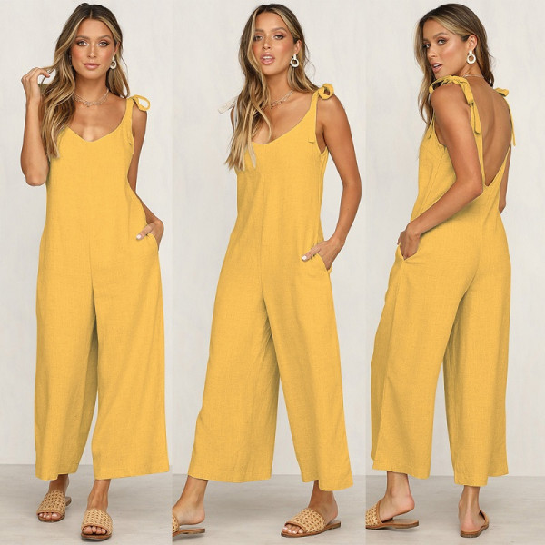 Women's Cotton Casual Loose V Neck Sleeveless Bow Tie Shoulder Wide Leg Jumpsuits Rompers with Pocket