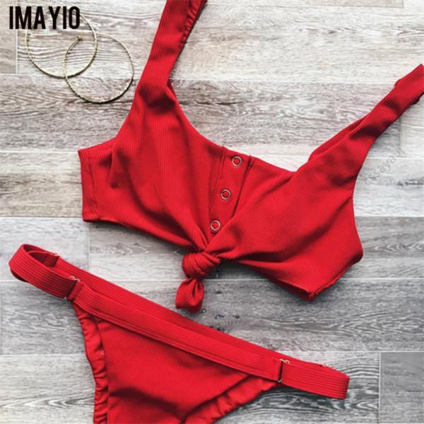 Imayio bikini set solid padding women swimwear wire free swimsuit brazilian bandage
