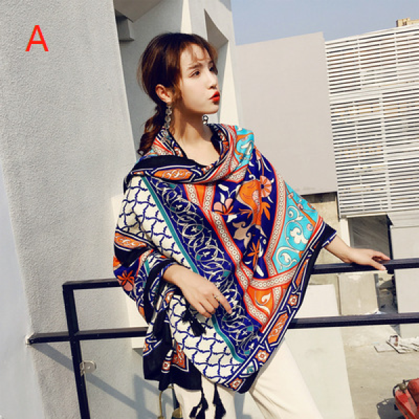 Women sunscreen scarves national scarf wind travel scarf vacation air conditioning shawl tassel ladies beach towel