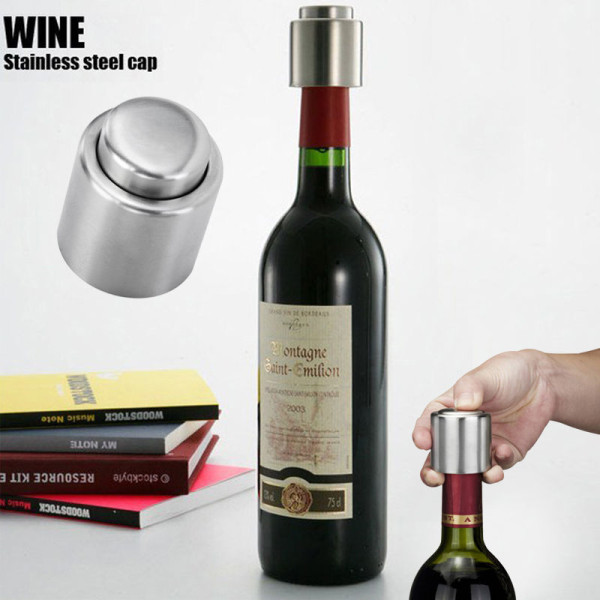 Stainless Steel Vacuum Sealed Wine Storage Bottle Stopper