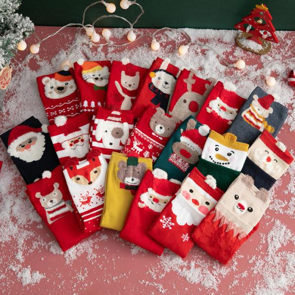 2021 Christmas woman socks funny cartoon Santa Claus Christmas tree socks kawaii cartoon animal girl Christmas gift