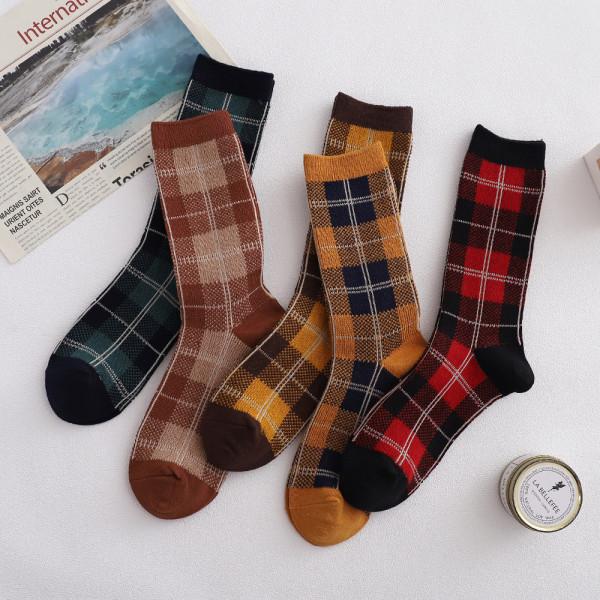 High quality double needle double way retro socks female long tube combed cotton socks