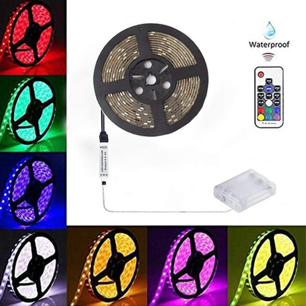 Battery-Powered LED Strip Lights 17-Keys Remote Controlled