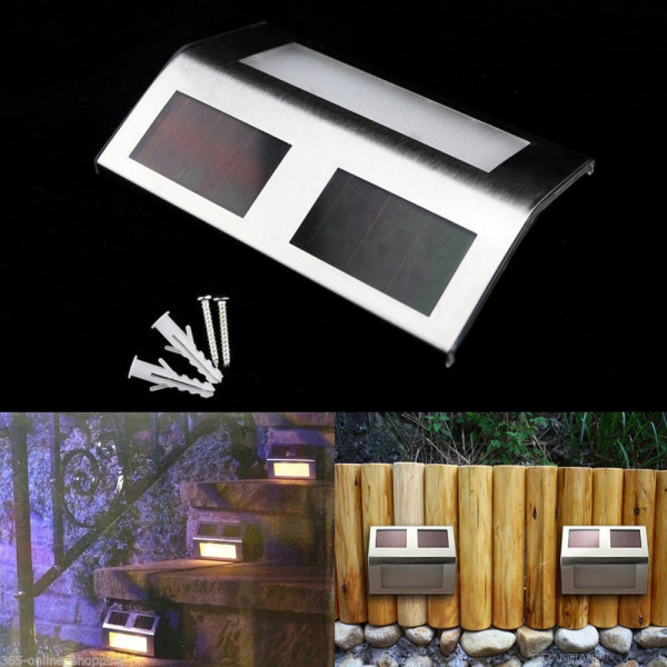 2 LED Solar Powered Panel Stairway Light