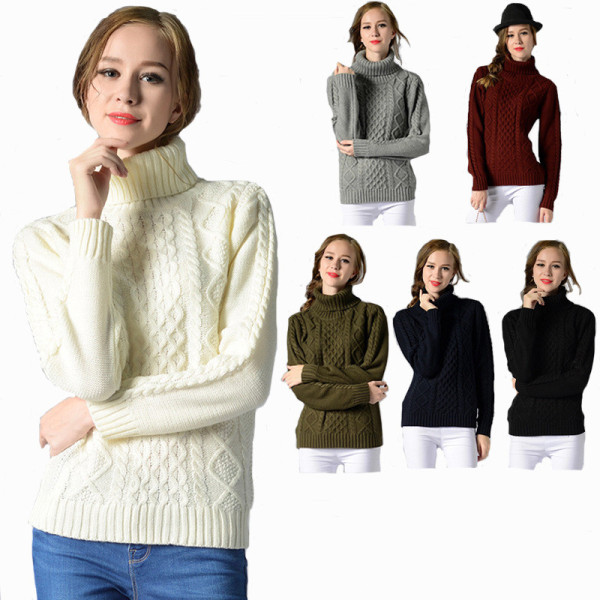 Long Sleeve Turtleneck Twisted Sweater