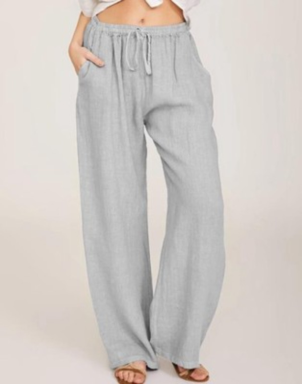 Women's Autumn Fashion Casual Trousers Cotton and Linen Loose Yoga Pants