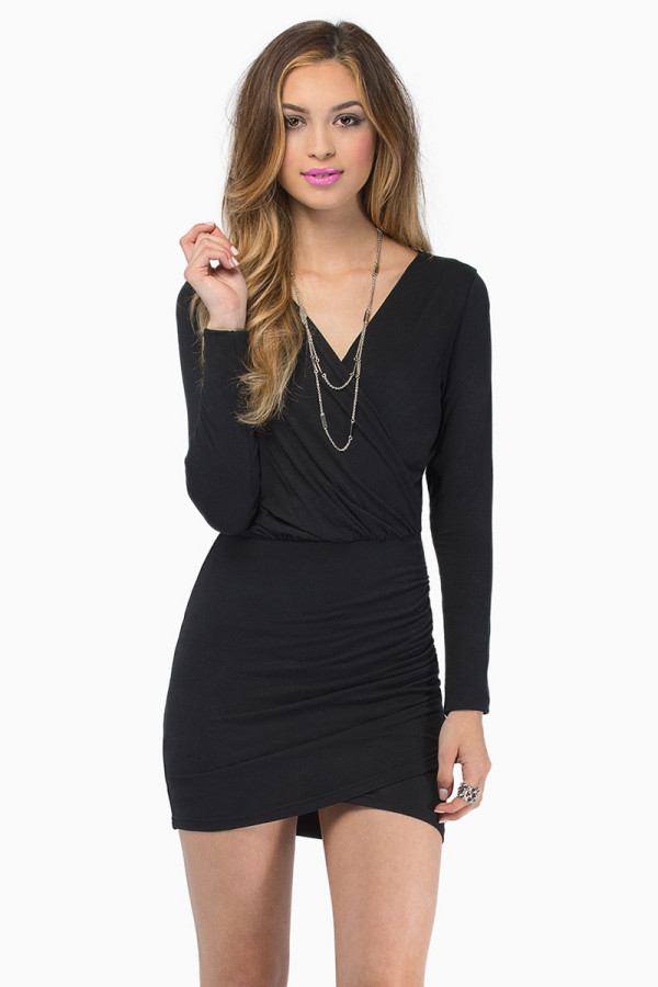 Sexy Deep V-neck Long sleeved Dress