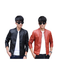 PU leather men's jacket