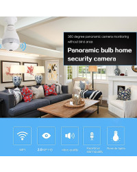 Bulb LED Light Wi-fi Panoramic camera