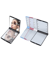 Women Foldable Makeup Mirror with 8 LED Lights