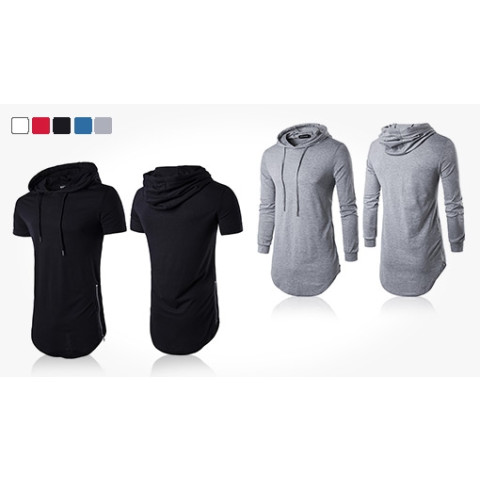 Stylish hooded sweater in slim men's fashion with modern details. Choose between short-sleeved or long-sleeved and multiple colors.