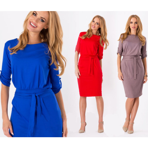 Women elegant pencil belt wrap dress