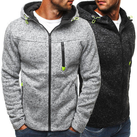 Mens Fashion Casual Oversize Solid Long Sleeve Zip Up Hoodie