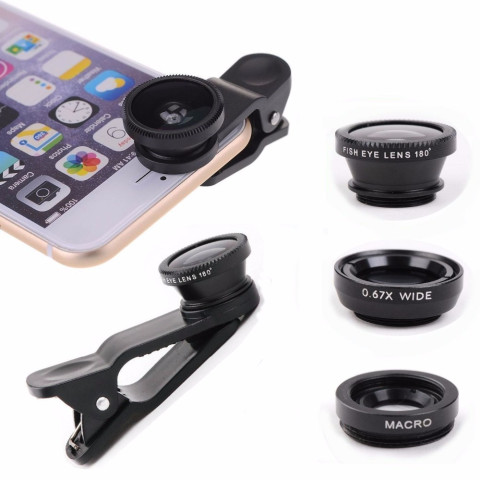 Universal 3in1 Clip On Camera Lens Kit for Cell Phone
