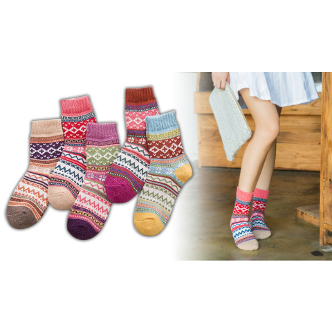 5 Pairs Womens Wool Vintage Style Thermal Thick Warm Winter Crew Socks