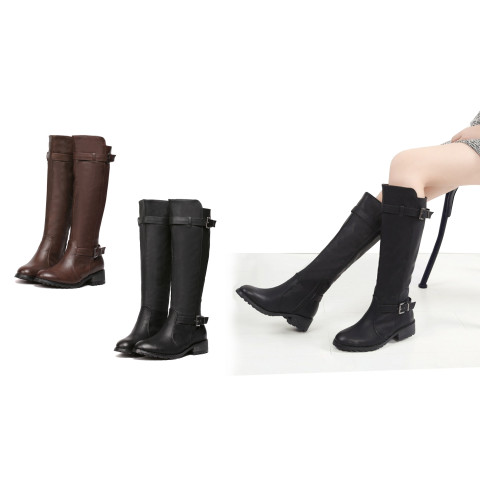 Women's Leather Buckle Knee High Riding Boots