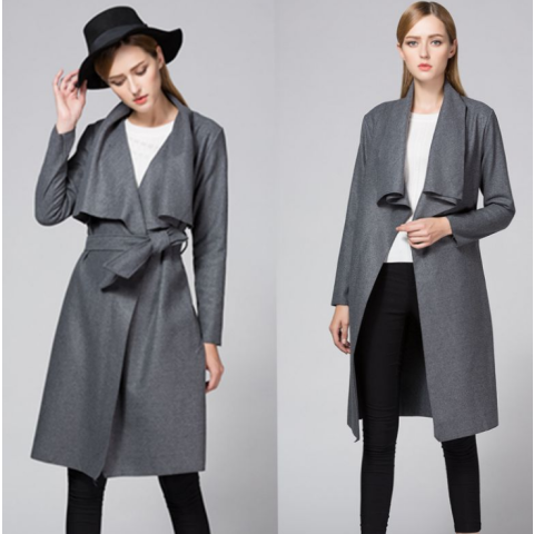Women's Woolen Turn Down Collar Coat