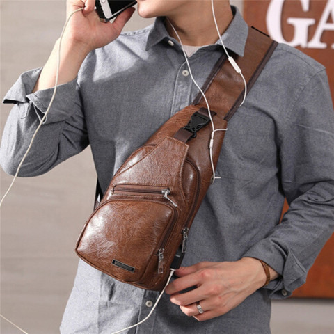 USB Charging Waterproof Shoulder Bag