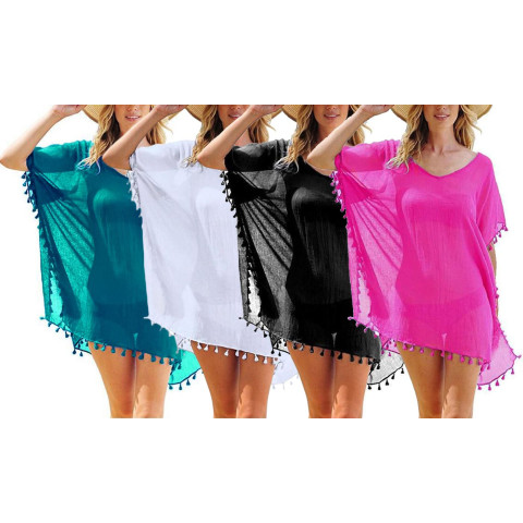 Women's Tassel Trim Beach Kaftan