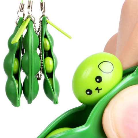Squeezey Beans Stress Keychain Toys