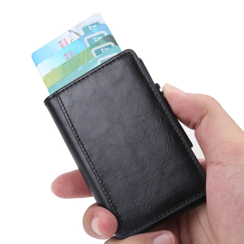 Card holder with button