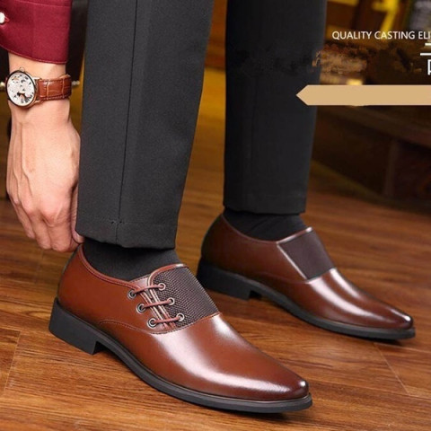 Men Fashion Pointed Toe Lace Up Leather Shoes