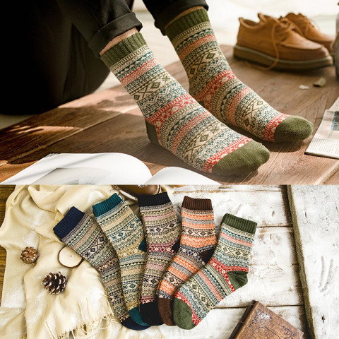 5pair Thick Warm Wool Socks