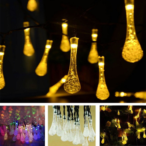 Solar 20 LED Water Drop String Fairy Light