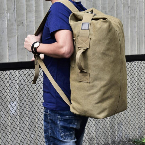 Canvas Outdoor Sports Duffle Bag Travel Rucksack