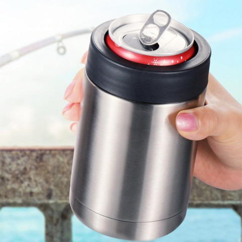 12oz Portable Double Wall Vacuum Flask Insulated Beer Bottle Cold Keeper Can Holder Cup Easy To Operate