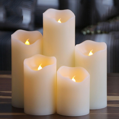 Flameless uneven edge electrical paraffin wax led candle