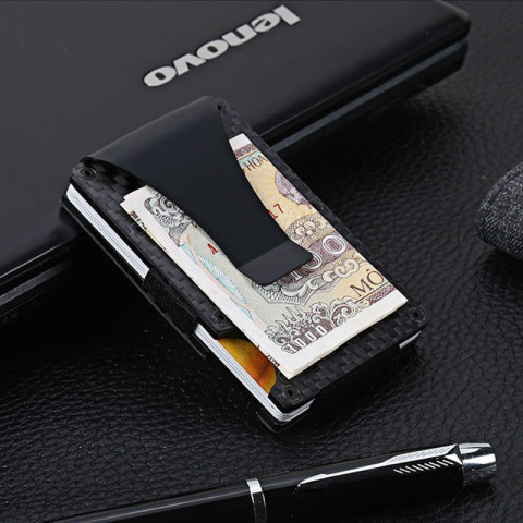 Slim Carbon Fiber RFID Blocking Metal Wallet Money Clip Case
