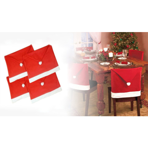 Christmas Santa Claus Red Hat Chair Cover