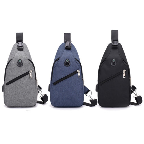 Men Fashion Pure Color USB Canvas Messenger Shoulder Bag  Chest Bag