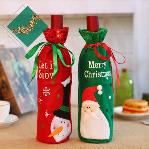 2pcs Santa Claus Snowman Design Wine Bottle Cover