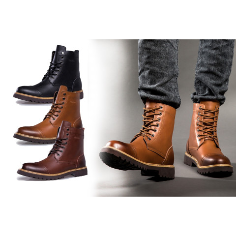 Men Cowhide Leather short Boots