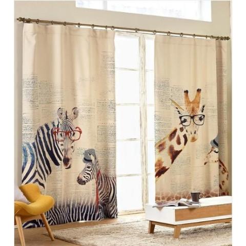 Zebra giraffe linen curtains