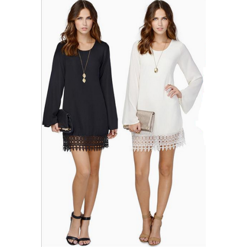 Women's Long Sleeve Chiffon A-line Lace dress