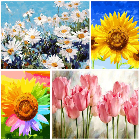 DIY Painting By Numbers (Flowers Picture)