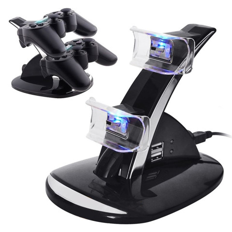 Dual USB Charging Dock Station Stand For PS3/PS4