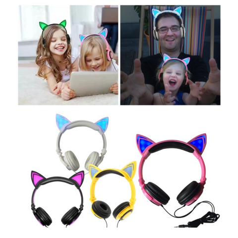 Glowing cat ear Foldable Flashing headphones