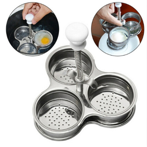 Stainless Steel 3 Grid Microwave Egg Poachers