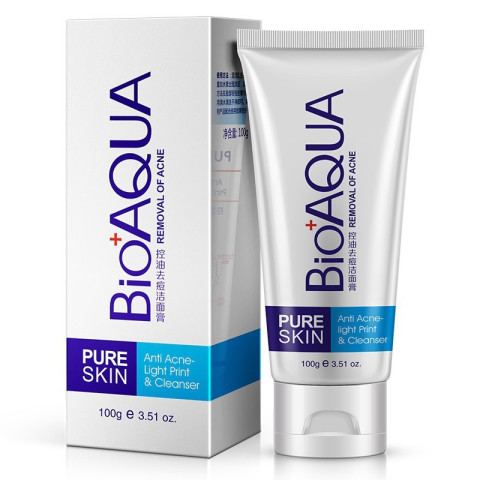 BioAqua Acne Treatment Facial Cleanser Black Head Remove Oil-control Deep Cleansing Foam Shrink Pores 100g