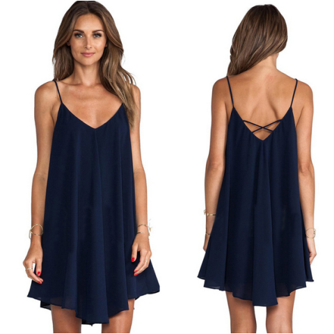 Women's Solid Color V Neck Cami Dress