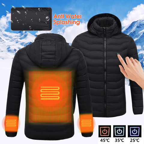 Mens Winter Heated USB Hooded Work Jacket Coats