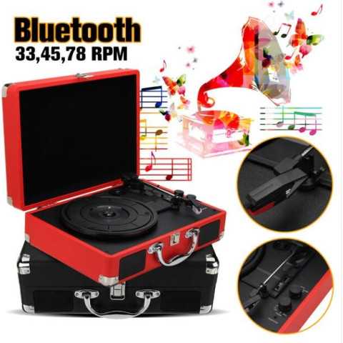 Vintage Bluetooth Portable Suitcase Turntable Vinyl LP Record Player